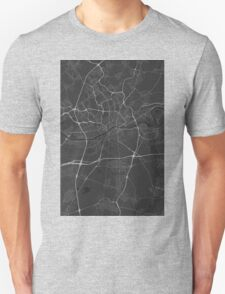 Frankfurt, Germany Map. (White on black) Unisex T-Shirt