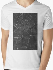 Frankfurt, Germany Map. (White on black) Mens V-Neck T-Shirt