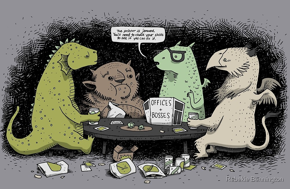 Monsters love RPGs by Rebekie Bennington