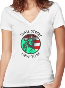 Wall Street, New York Women's Fitted V-Neck T-Shirt