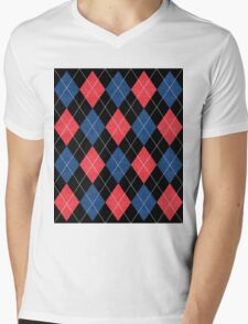 ARGYLE RED AND BLUE Mens V-Neck T-Shirt