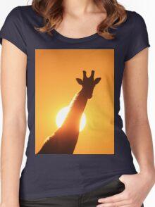 Giraffe Silhouette - Golden Sunset African Wildlife Women's Fitted Scoop T-Shirt