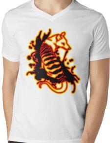 Flame Thylacine Mens V-Neck T-Shirt