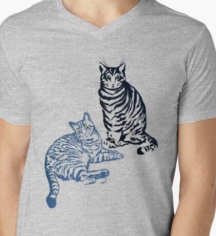Two Tabby Cats Mens V-Neck T-Shirt