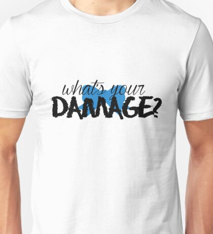 What's Your Damage? (Blue Bow) Unisex T-Shirt