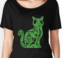 Fluorescent green biofilm cat Women's Relaxed Fit T-Shirt