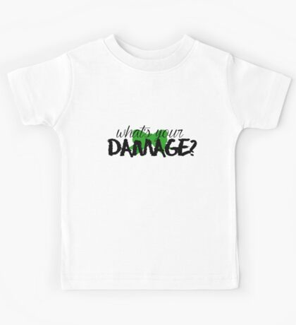 What's Your Damage? (Green Bow) Kids Tee