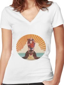 Master Roshi turtle rider Women's Fitted V-Neck T-Shirt