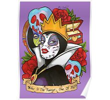 Evil Queen Snow White Disney Day Of The Dead purple background Poster