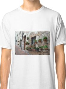 Stone buildings from Assisi with flowers in pots. Classic T-Shirt