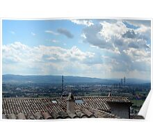 Rooftop from Assisi and view of the landscape. Poster