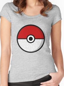 Pokéball with Pokémon Theme Lyrics Women's Fitted Scoop T-Shirt