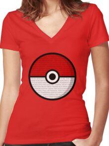 Pokéball with Pokémon Theme Lyrics Women's Fitted V-Neck T-Shirt