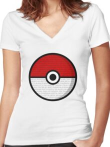 Pokéball with Pokémon Theme Lyrics Women's Fitted V-Neck T-Shirt