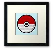 Pokéball with Pokémon Theme Lyrics Framed Print