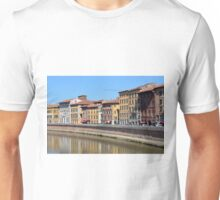 Buildings from Pisa reflected in the water Unisex T-Shirt