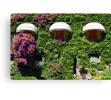 Building facade covered in vegetation Canvas Print