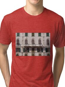 Classical facade from Genova with detailed decoration ornaments Tri-blend T-Shirt