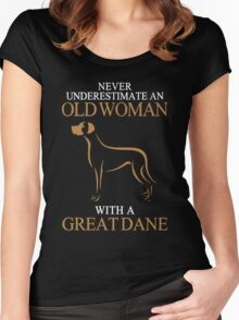 Great Dane Shirt - Never Underestimate An Old Woman Women's Fitted Scoop T-Shirt