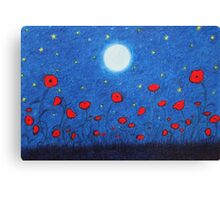 Poppy Field: Poppies with Moon and Stars Canvas Print