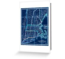 0053 Railroad Maps Railroad map of New England eastern New York complied from the most authentic Inverted Greeting Card
