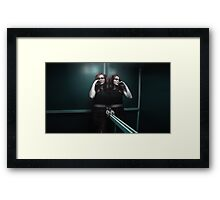 girl in elevator Framed Print
