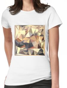Bisque Gray Abstract Low Polygon Background Womens Fitted T-Shirt