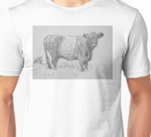 Belted Galloway Cow Pencil Drawing Unisex T-Shirt