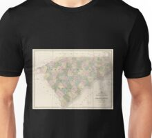 0154 Railroad Maps Map of North and South Carolina exhibiting the post offices post roads canals rail roads c By David H Burr Late topographer to the Post Office Geographer Unisex T-Shirt
