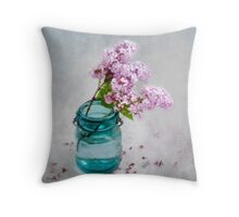Lilacs in a Green Glass Jar Throw Pillow