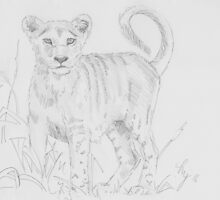 Lion cub pencil drawing by MikeJory