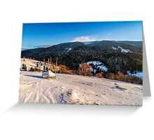 woodshed on the hillside in winter mountains Greeting Card