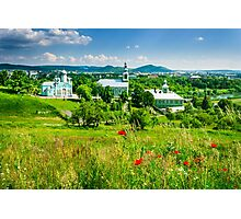 red poppy flowers and the green monastery Photographic Print
