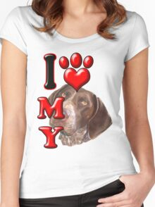 I Love My Pointer Women's Fitted Scoop T-Shirt