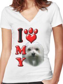 I Love My Maltese Women's Fitted V-Neck T-Shirt