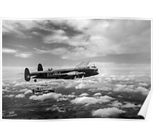 617 Squadron Tallboy Lancasters black and white version Poster