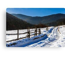 snowy road to coniferous forest in mountains Canvas Print