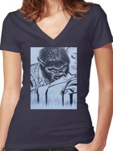 by night  Women's Fitted V-Neck T-Shirt