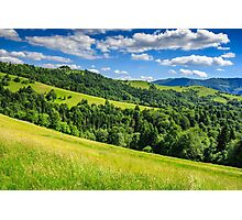 landscape with fields and  forest on hillside Photographic Print