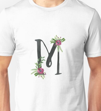 Monogram M with Floral Wreath Unisex T-Shirt
