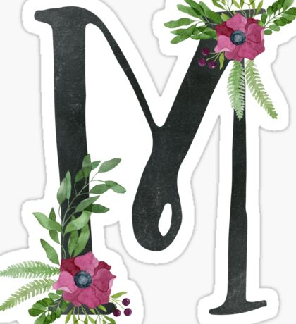 Monogram M with Floral Wreath Sticker