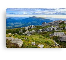stones on a hill in front of the mountain Canvas Print