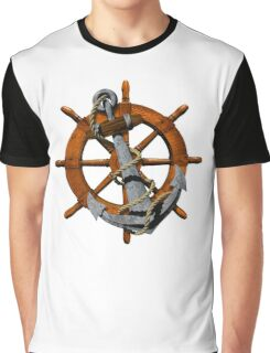 Captain's Wheel And Anchor Graphic T-Shirt