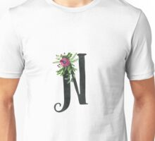 Monogram N with Floral Wreath Unisex T-Shirt