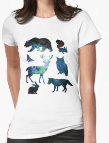 Galaxy Forest Animals ver. 2 Womens Fitted T-Shirt