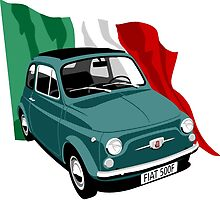 Classic Fiat 500F dark green by car2oonz