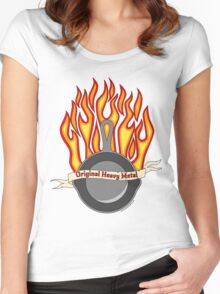 Cast Iron Pan- tattoo style Women's Fitted Scoop T-Shirt