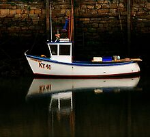 Boat at St Andrews Harbour, Scotland by Forfarlass