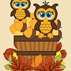 Cute Autumn Owls by LoneAngel