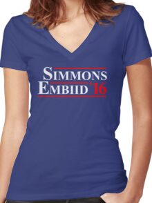 simmons embiid 2016 Women's Fitted V-Neck T-Shirt